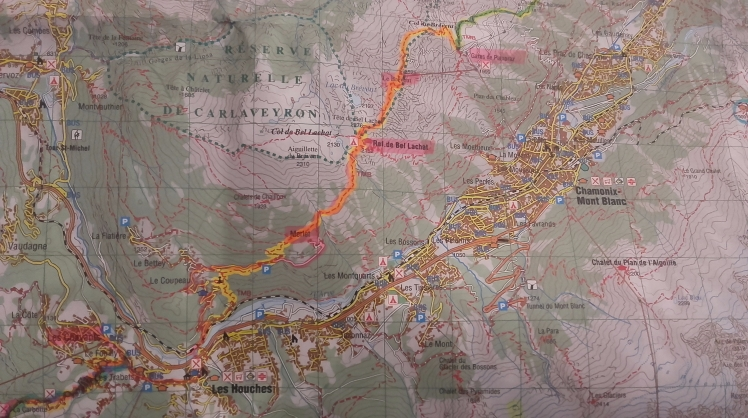tracé CHAMONIX -LES HOUCHES